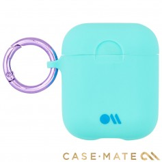 美國 CASE●MATE AirPods 炫彩保護套 - 水藍色 贈掛環及磁性防丟繩