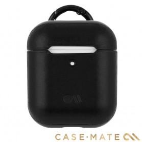 美國 CASE●MATE AirPods 真皮皮革保護殼 - 黑色 贈掛環及磁性防丟繩