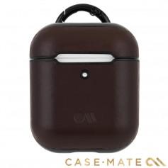 美國 CASE●MATE AirPods 真皮皮革保護殼 - 棕色 贈掛環及磁性防丟繩