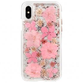 """美國 Case-Mate iPhone X (5.8"""") Karat Petals 璀璨真實花朵防摔手機保護殼 - 粉紅"""