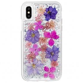 """美國 Case-Mate iPhone X (5.8"""") Karat Petals 璀璨真實花朵防摔手機保護殼 - 紫"""