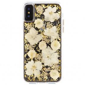 美國 Case-Mate iPhone X Karat Petals 璀璨真實花朵防摔手機保護殼 - 古典白