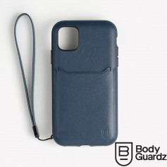 分享 美國 BodyGuardz iPhone 11 Pro Max Accent Wallet 卡槽頂級真皮軍規殼 - 深藍