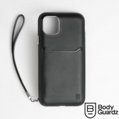 美國 BodyGuardz iPhone 11 Pro Max Accent Wallet 卡槽頂級真皮軍規殼 - 黑