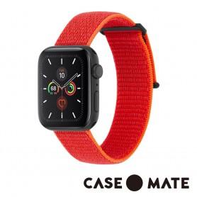 美國 CASE●MATE Apple Watch 5代通用 38-40mm 尼龍運動型舒適錶帶 - 霓虹橘