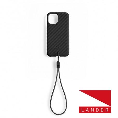 美國 Lander iPhone 12 mini Vise 立體斜紋環保防摔殼 - 星空黑 (附手繩)