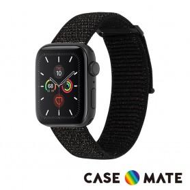 美國 CASE●MATE Apple Watch 第1-6代/SE 通用 42-44mm 尼龍運動型舒適錶帶 - 金屬黑