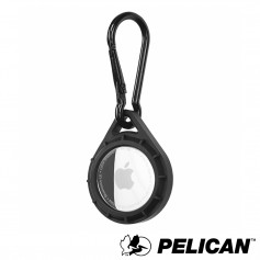 美國 Pelican 派力肯 AirTag 專用軍規防摔吊飾 - 黑 - 附贈D環