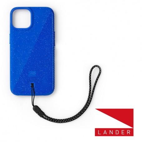 美國 Lander iPhone 13 Torrey 圓石極致手感防摔殼 - 藍 (附手繩)