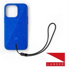 美國 Lander iPhone 13 Pro Torrey 圓石極致手感防摔殼 - 藍 (附手繩)